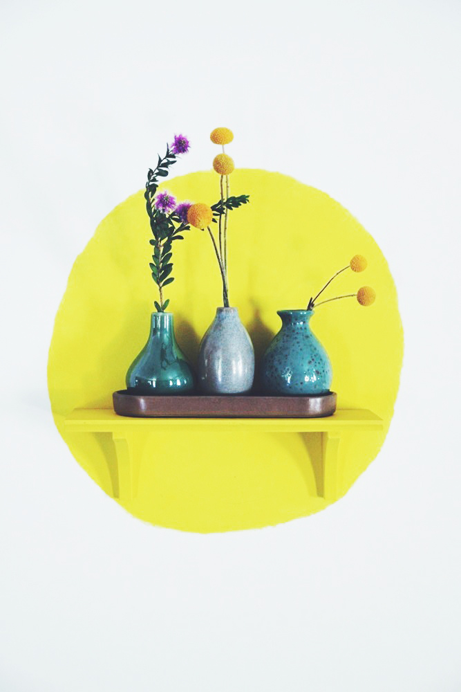 Paint a circle on the wall behind a matching shelf | Justina Blakeney