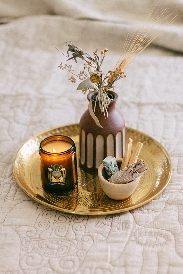 Sara Toufali_Gold Embossed Tray_Jungalow Candle