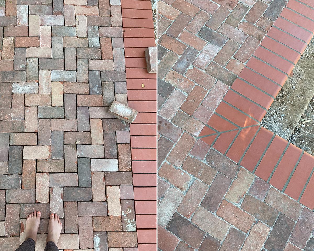 Brick pavers and bullnose pool coping